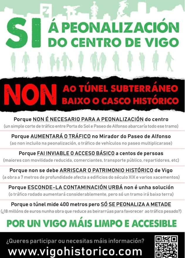 SI a la peatonalización del centro de Vigo, NO al túnel subterráneo en el Casco Histórico